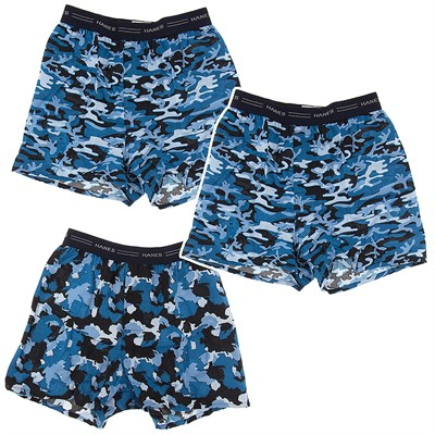 Hanes Blue Camo Print Set of 3 Cotton Boxers for Boys