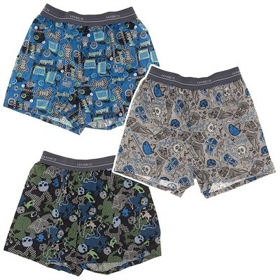 Hanes Guitar Print Set of 3 Cotton Boxers for Boys