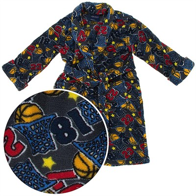 Gray Basketball Plush Bath Robe for Toddler Boys