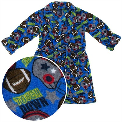 Blue Football Plush Bath Robe for Toddler Boys