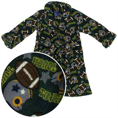 Green Football Plush Bath Robe for Toddlers and Boys