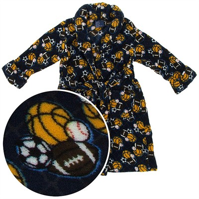Blue Sports Plush Bath Robes for Toddler Boys