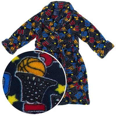 Blue Basketball Plush Bath Robe for Toddlers and Boys