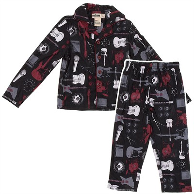 Black Guitar Coat-Style Pajamas for Boys