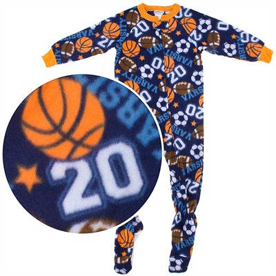 Blue Varsity Sports Footed Pajamas for Boys