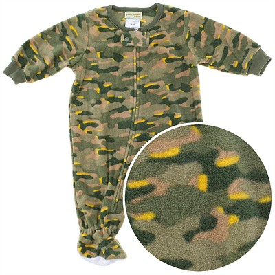 Green Camo Footed Sleeper for Toddler Boys