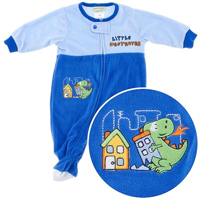 Little Destroyer Dinosaur Footed Sleeper for Infant and Toddler Boys