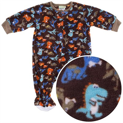 Brown Dinosaur Footed Sleeper for Toddler Boys
