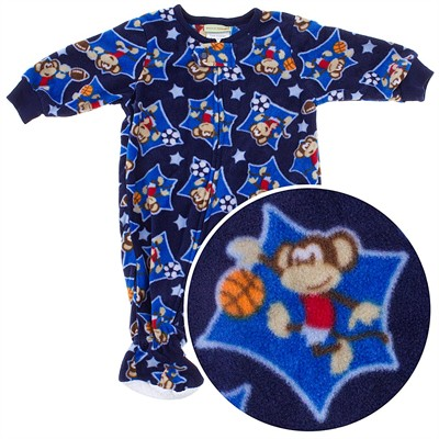 Navy Monkey Footed Sleeper for Infant and Toddler Boys