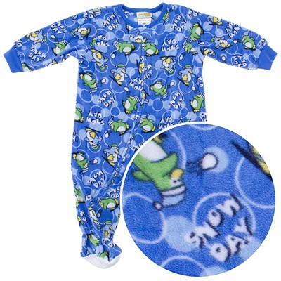 Blue Penguin Footed Sleeper for Infant Boys