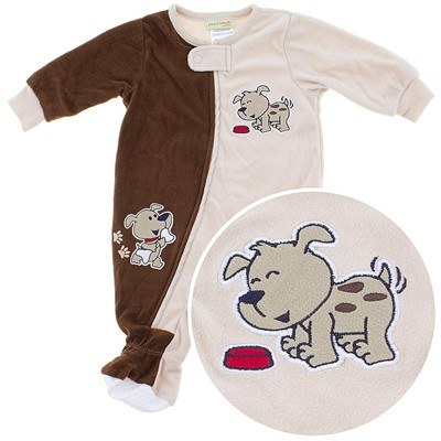 Brown Puppy Footed Sleeper for Toddler Boys