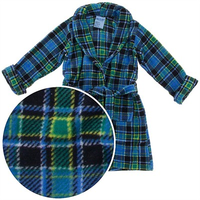 Blue and Green Plaid Plush Bathrobe for Toddler Boys
