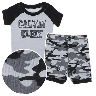 Calvin Klein Gray Camo Short Cotton Toddler Pajamas for Boys