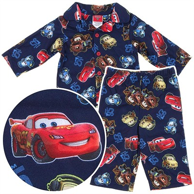 Cars Lightning McQueen Navy Coat-Style Pajamas for Infant and Toddler Boys