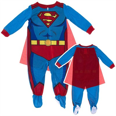 Superman with Cape Footed Pajamas for Toddler Boys