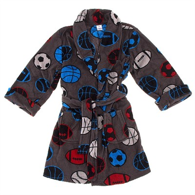 Gray Sports Plush Bathrobe for Boys