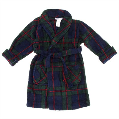 Navy and Green Plaid Bathrobe for Toddler Boys