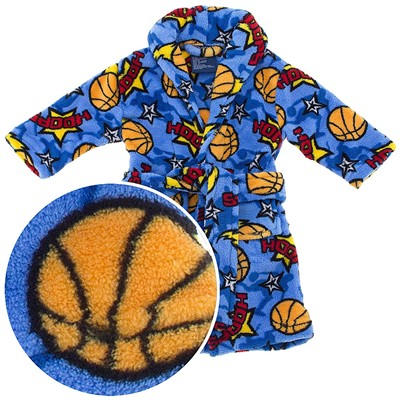 Blue Hoops Plush Bath Robe for Toddlers and Boys