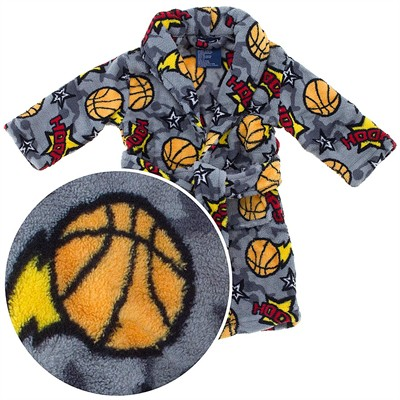 Gray Hoops Plush Bath Robe for Toddler Boys