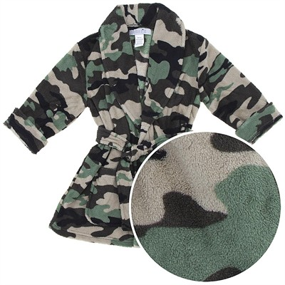 Green Camo Coral Fleece Bath Robe for Toddler Boys