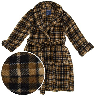 Brown Plaid Plush Bath Robe for Toddlers and Boys