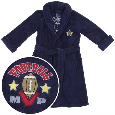 Navy MVP Football Plush Bath Robe for Boys