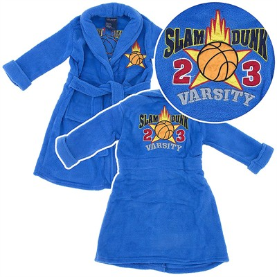 Blue Slam Dunk Basketball Plush Bath Robe for Toddlers and Boys