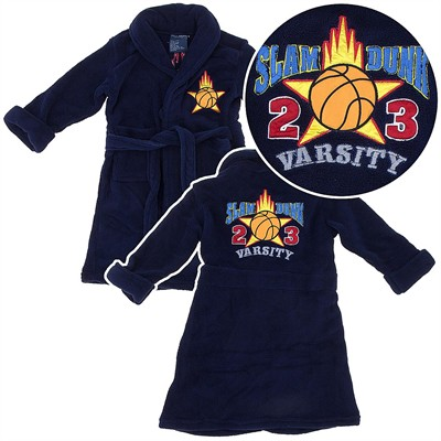 Navy Slam Dunk Basketball Plush Bath Robe for Toddler Boys