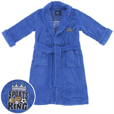 Blue Sports King Plush Bath Robe for Boys