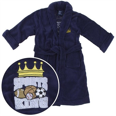 Navy Sports King Plush Bath Robe for Boys