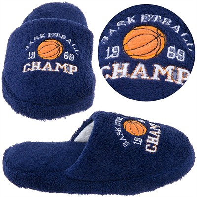 Navy Basketball Champ Boys Slippers