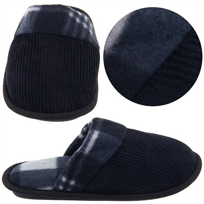 Black and Gray Plaid Slippers for Toddlers and Boys