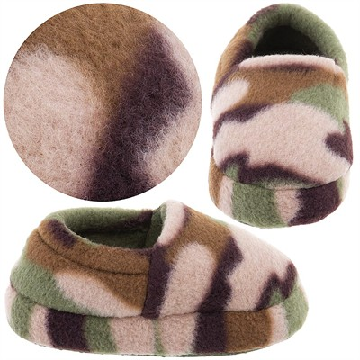 Green Camo Fleece Slippers for Toddler Boys