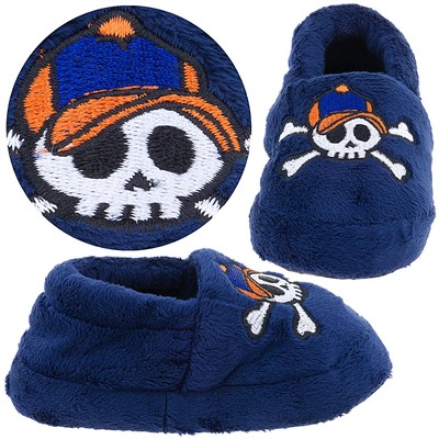 Navy Skull Slippers for Toddler Boys