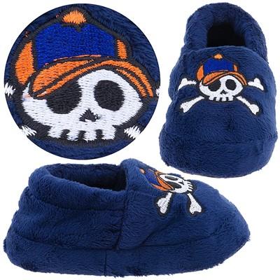 Navy Skull Slippers for Toddler Boys