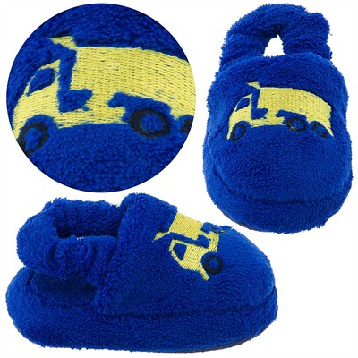 Royal Blue Dump Truck Toddler Slippers for Boys