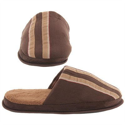 Brown and Tan Striped Slip On Slippers for Men