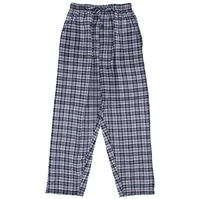 Blue and White Plaid Broadcloth Pajama Pants for Men