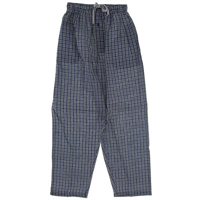 Blue Plaid Broadcloth Pajama Pants for Men