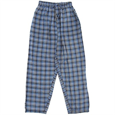 Light Blue Plaid Broadcloth Pajama Pants for Men