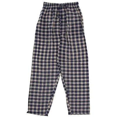 Navy and Yellow Plaid Broadcloth Pajama Pants for Men