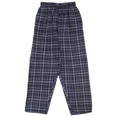 Navy Plaid Broadcloth Pajama Pants for Men