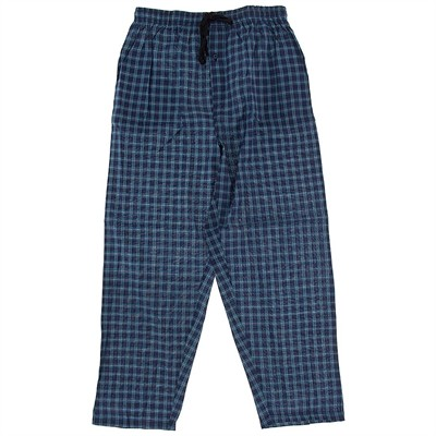 Dark Turquoise Plaid Broadcloth Pajama Pants for Men