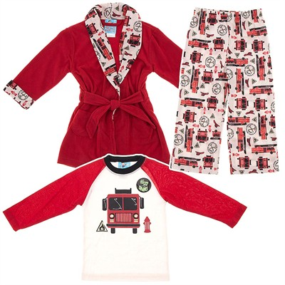 Red Fire Truck Bathrobe and Pajama Set for Toddlers and Boys