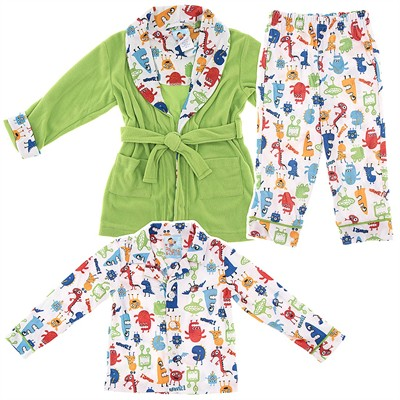 Green Monster Bathrobe and Pajama Set for Toddlers and Boys