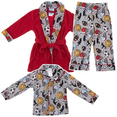 Red Sports Bathrobe and Pajama Set for Toddlers and Boys