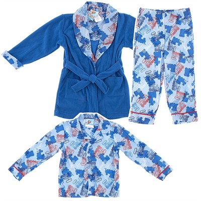 Blue Trains Bathrobe and Pajama Set for Boys