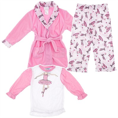 Pink Ballet Bathrobe and Pajama Set for Toddler Girls