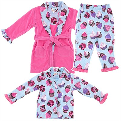 Pink Cupcake Bathrobe and Pajama Set for Toddler Girls