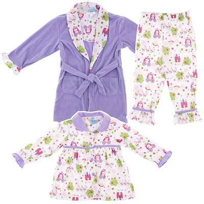 Purple Frog Bathrobe and Pajama Set for Toddler Girls